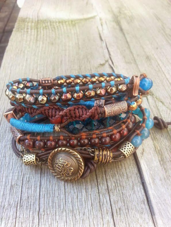 """Because""  Has a new owner  Met blauwe agaat, blauwe jade, bruine turquoise, granet, oliekraal en facet geslepen kristal. Past 5 á 6 keer om de pols.   Wrap it 5 or 6 times around. Finished this on the 5 th of march.  Ben je geïnteresseerd stuur een berichtje. #Boho #Bohemian #Caarroos #Bracelets #Jewelry #Gipsy #Armband."