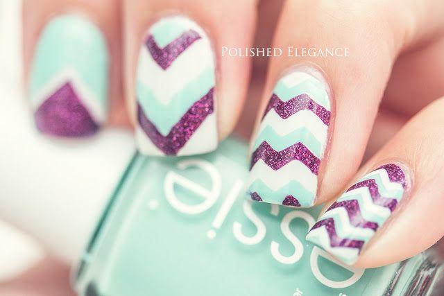 Chevron turquoise, white & purple nails...x