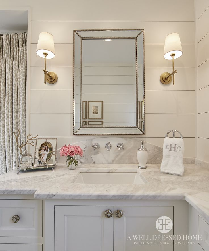 Master Bathroom by A Well Dressed Home, LLC. To read more about this project, please visit: http://awelldressedhome.com/3931-our-farmhouse-renovation-reveal-part-5-the-master-suite/ #BathroomMirror