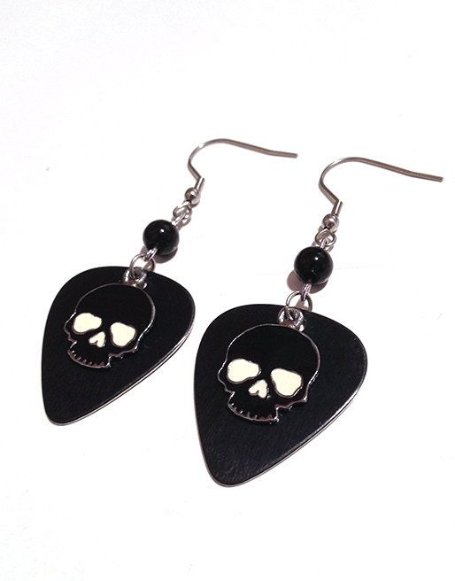 Black Metal Guitar Pick Earrings with Enamel Skull Charms by Pornoromantic