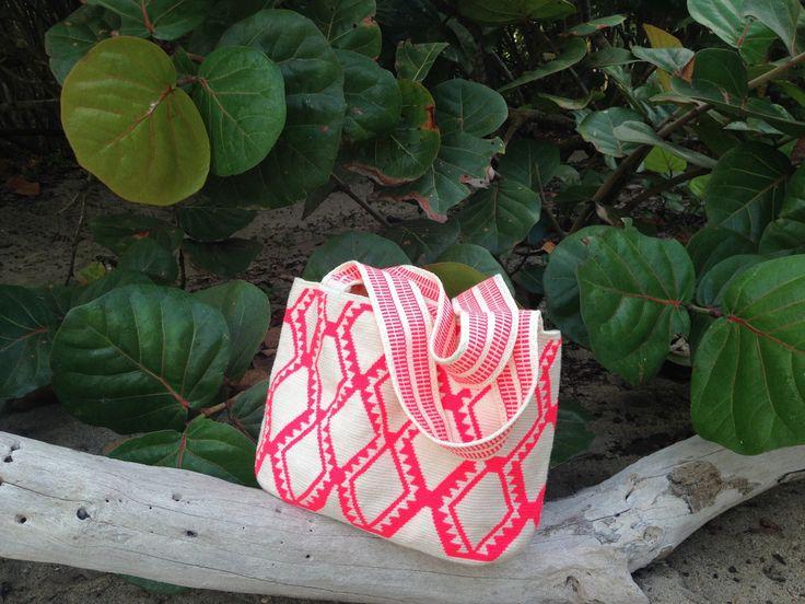 Neon Hot Pink Geometric Shopping Tote // Beach Bag //Wayuu Mochila Tote // Azulina Wayuu $148