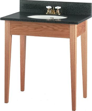 The Art Gallery Short Apron Open Style Bathroom Vanity with Tapered Legs