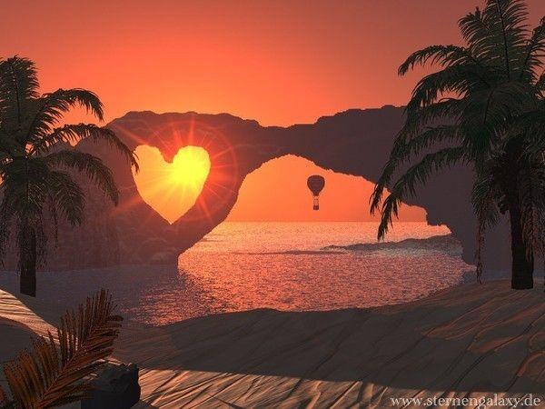 belle image de coeur nature avec coucher de soleil