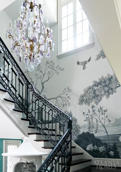 Wallpaper can help establish a feeling of age and history in a new house. Classic patterns are especially effective.