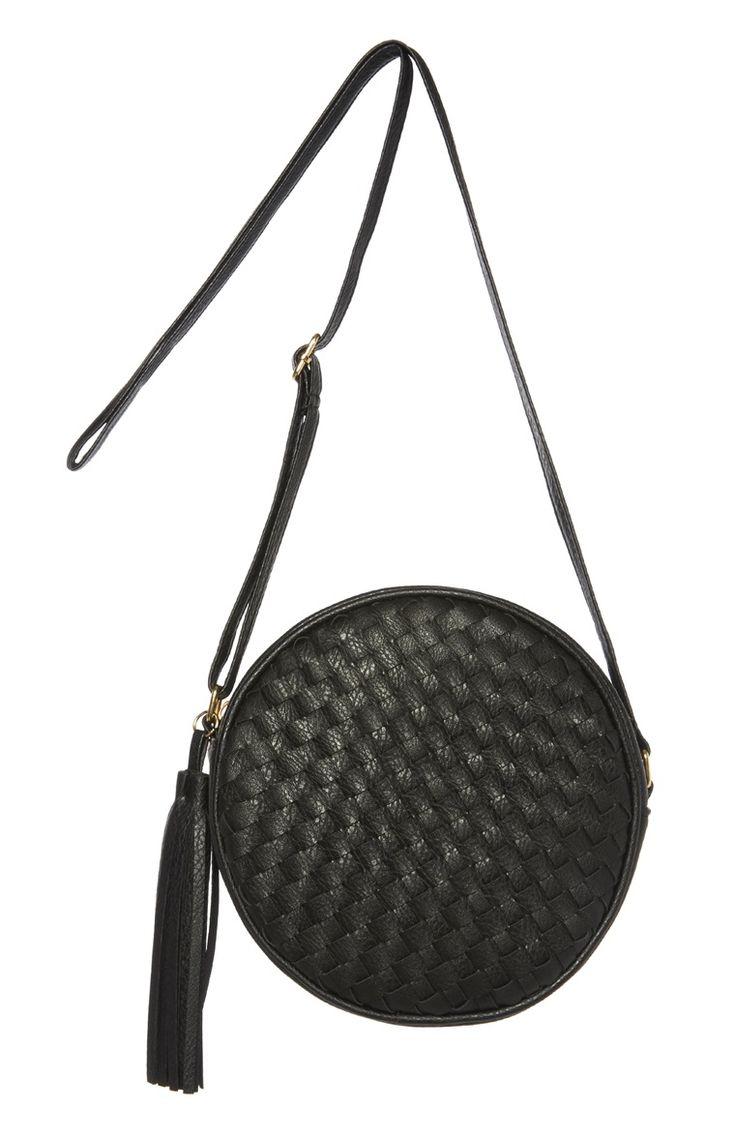 Black Woven Round Cross Body Bag