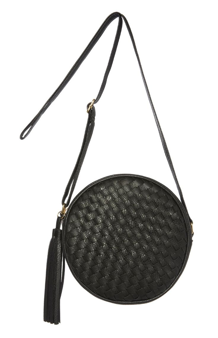Black Woven Round Cross Body Bag