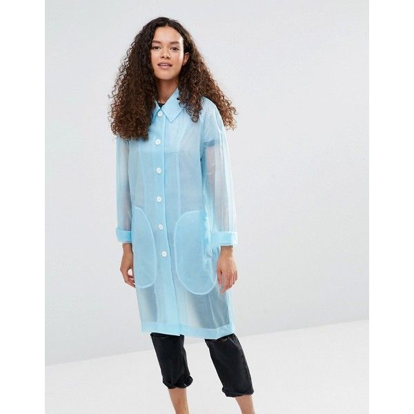 YMC Blue Sheer Rubber Raincoat ($194) ❤ liked on Polyvore featuring outerwear, coats, blue, blue raincoat, mac coat, rubber raincoat, rubber rain coat and transparent rain coat