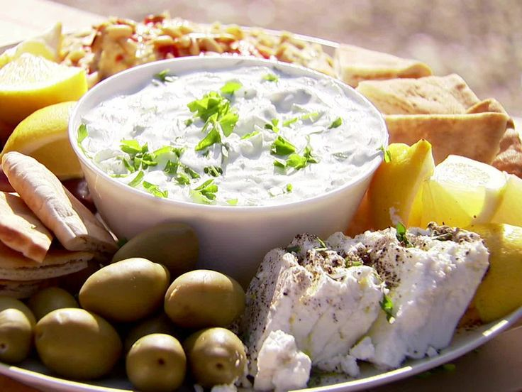 Easy Tzatziki with Feta Recipe : Ina Garten : Food Network - FoodNetwork.com Cooking with Michael Symon episode