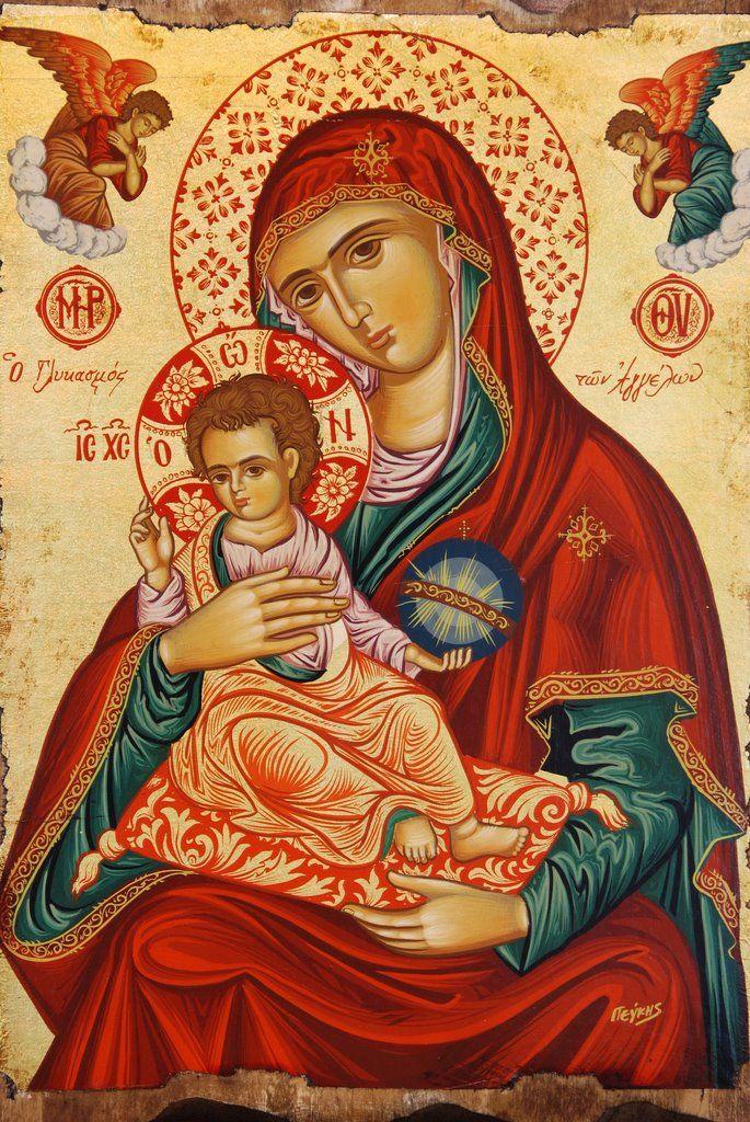 O Γλυκασμος των Αγγελων .Byzantine Icon Panagia and child.