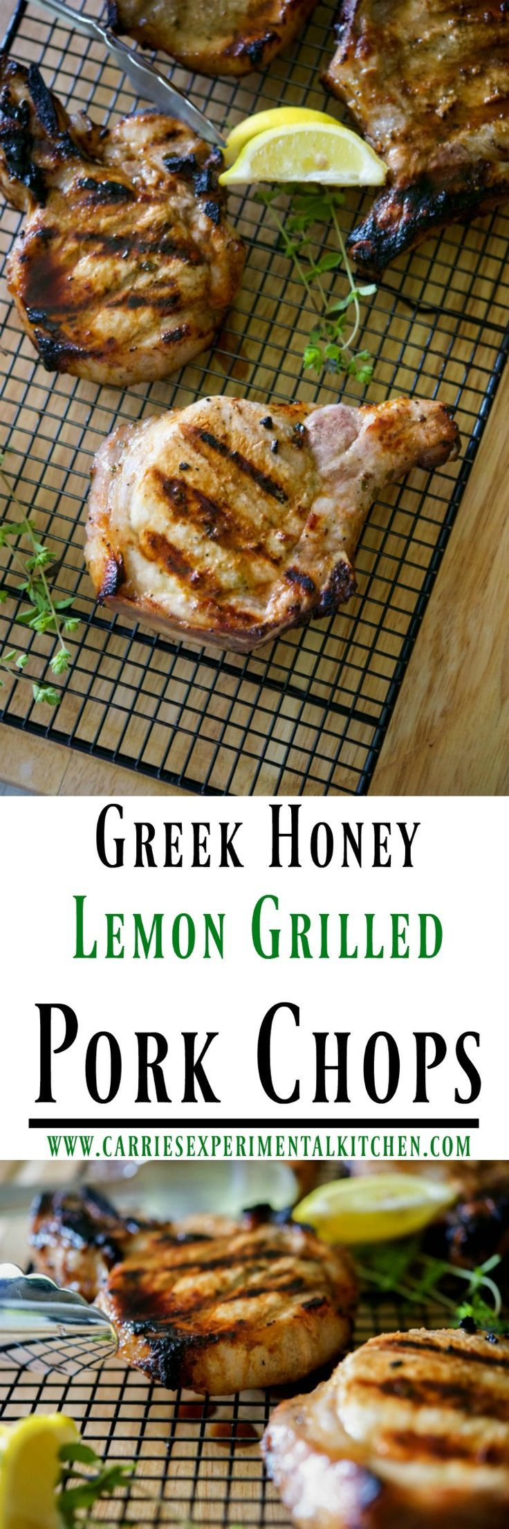 These Greek Honey Lemon Grilled Pork Chops made with fresh lemon, oregano, and honey create a simple, yet flavorful marinade.