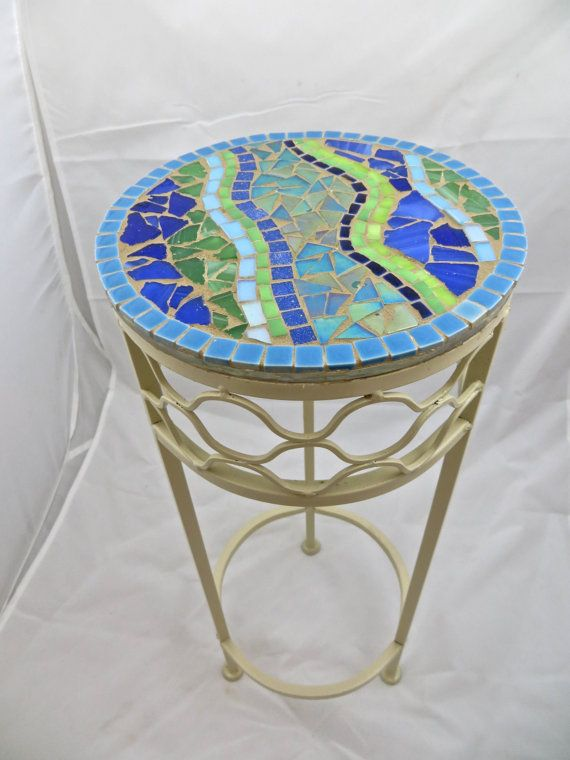 Round Mosaic Side Table or Plant Stand