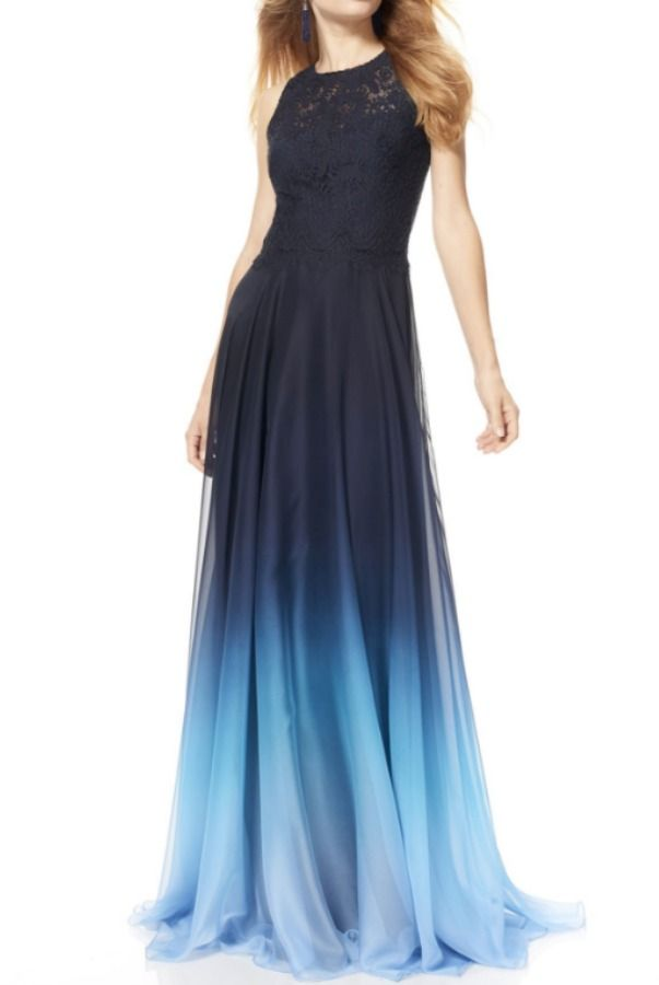 dc6a5065c9f theia Silk and Lace Ombre Navy Blue Ball Evening Gown