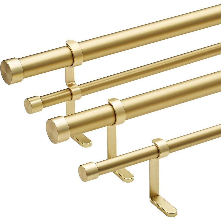 "Shop Brushed Brass Curtain Rod Set 28""-48""x. 75""dia. 100% iron tube with brushed brass finish goes the distance to display curtains. Adjustable rod telescopes in/out for an exact fit. Five- piece set includes hanging hardware. Brushed Brass ."