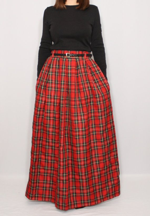 Hey, I found this really awesome Etsy listing at https://www.etsy.com/listing/252270941/red-plaid-skirt-tartan-skirt-women-maxi