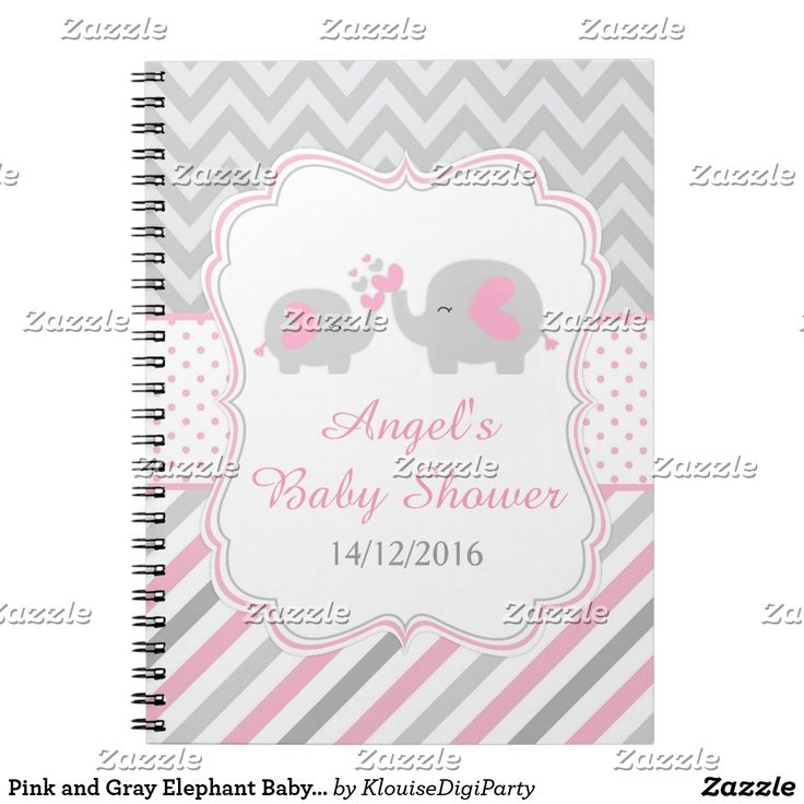 Pink and Gray Elephant Baby Shower Planner Notebook