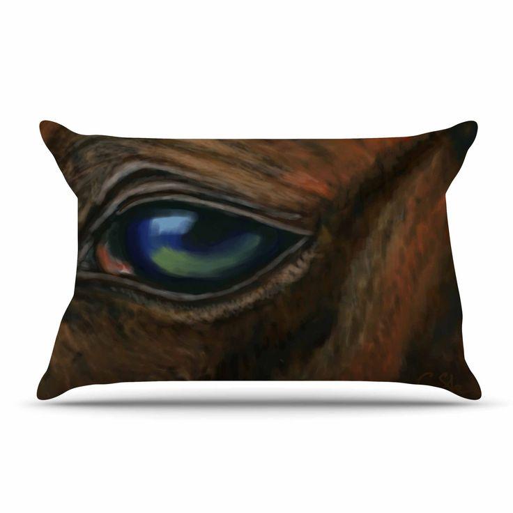 "Cyndi Steen ""Arabian Eye"" Brown Animals Pillow Case"