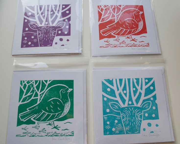 Christmas Card Set of 4. Printmaking, handmade linocut.. £15.00, via Etsy.