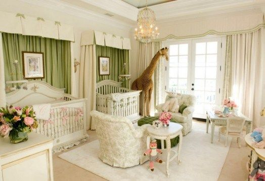 Зелено-молочная комната для близняшек