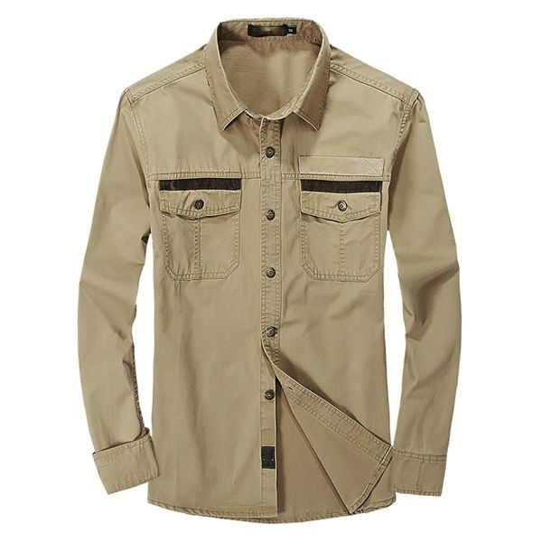 Plus Size Casual Cotton Long Sleeve Solid Color Lapel Men Work Shirts