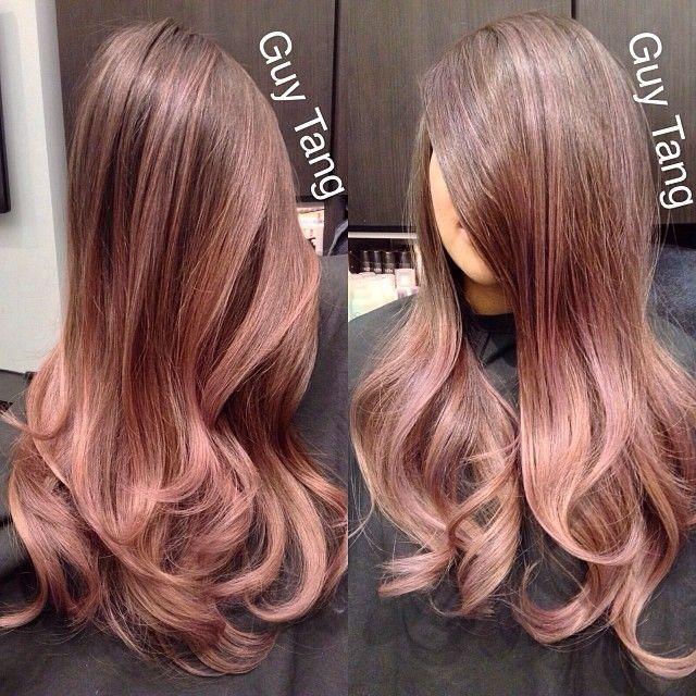 Rose-brown hair color. guytang: Custom color for my client @jenn_bunny83 #guytang #hairgasm #guytanghair