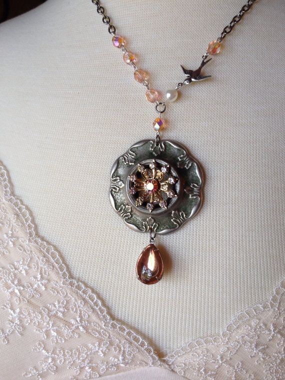 Repurposed vintage brooch necklace, vintage 1927 Chevrolet part, silver and light rose pink, upcycled, shabby, rustic, OOAK, unique feminine on Etsy, $47.00