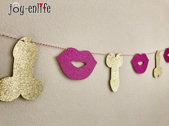 Visit To Buy JOY ENLIFE Romantic Glitter Willy Penis Lips Banner Garland Bachelorette Wedding Party Decor Bunting Hen Supplies