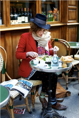 French french lifestyle -- love her hat & red blazer, scarf, messy hair...