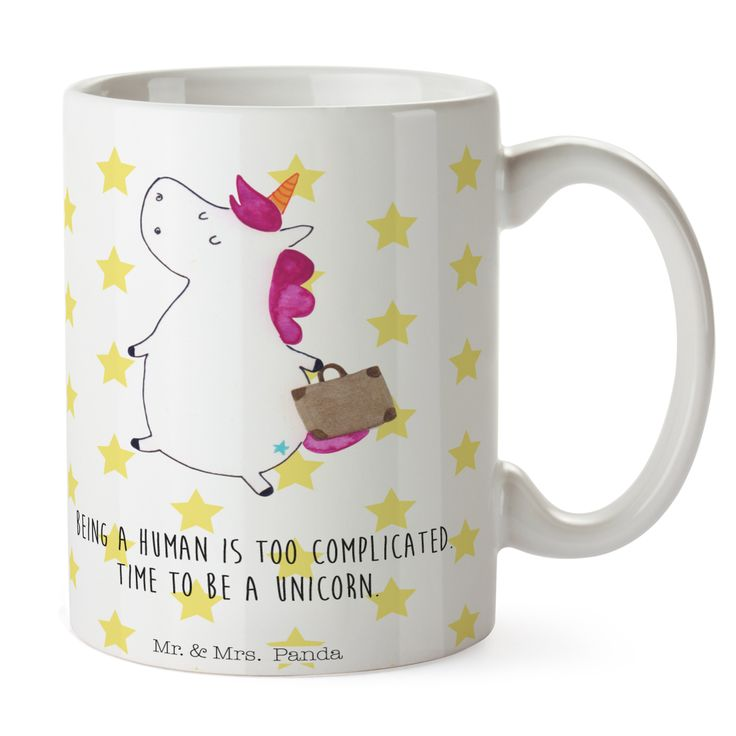 Tasse Unicorn Koffer aus Keramik  Weiß - Das Original von Mr. & Mrs. Panda.  Eine wunderschöne spülmaschinenfeste Keramiktasse (bis zu 2000 Waschgänge!!!) aus dem Hause Mr. & Mrs. Panda, liebevoll verziert mit handentworfenen Sprüchen, Motiven und Zeichnungen. Unsere Tassen sind immer ein besonders liebevolles und einzigartiges Geschenk. Jede Tasse wird von Mrs. Panda entworfen und in liebevoller Arbeit in unserer Manufaktur in Norddeutschland gefertigt.     Über unser Motiv Unicorn Koffer…