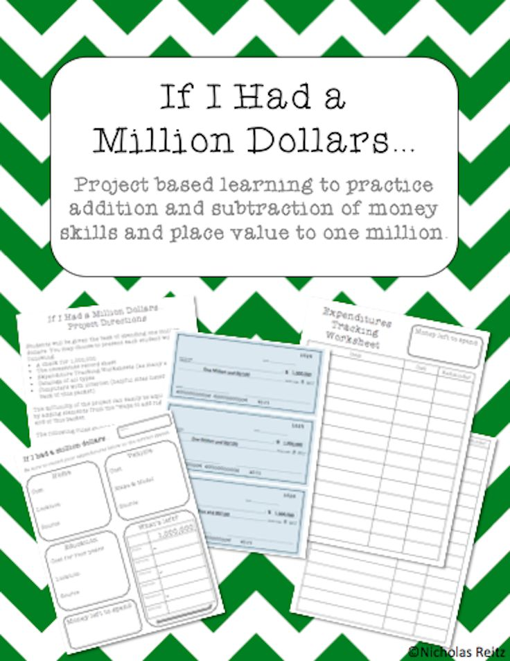 Interesting math project where students are asked to spend a million dollars! Great way to practice place value, and addition and subtraction of large numbers.