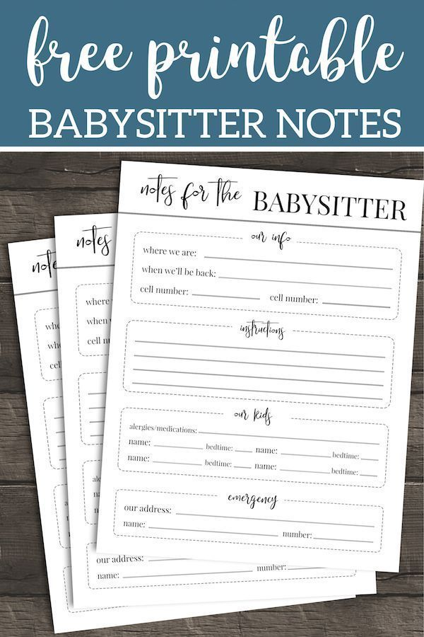 Free Printable Babysitter Notes Template Parenting Checklists