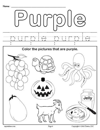 FREE Color Purple Worksheet Color worksheets for