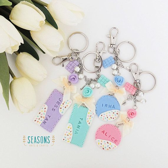 Biscuit Keychain Biscuit Name Tag Bagcharm Gift for Sister