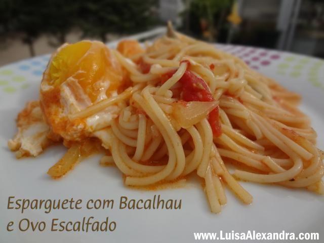 Esparguete com Bacalhau e Ovo Escalfado