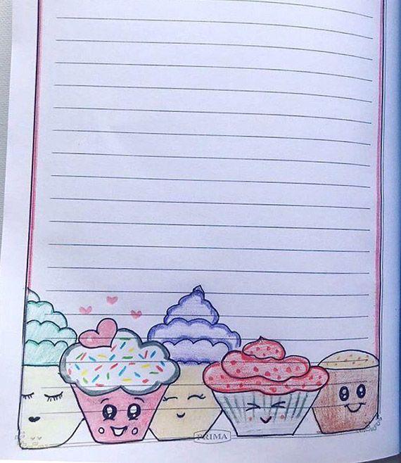 رسومات تزيين دفاتر المدرسة للبنات سهله وكيوت تزيين الكراسات بالعربي نتعلم Page Borders Design Paper Art Design Colorful Borders Design