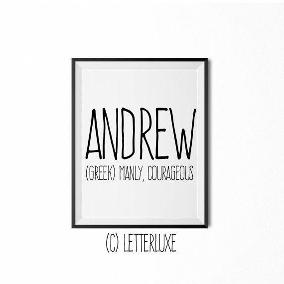Andrew - Name Meaning - Printable Nursery Art - Baby Shower Gift - Inspirational Typography Art - Digital Print - Nursery Wall Decor