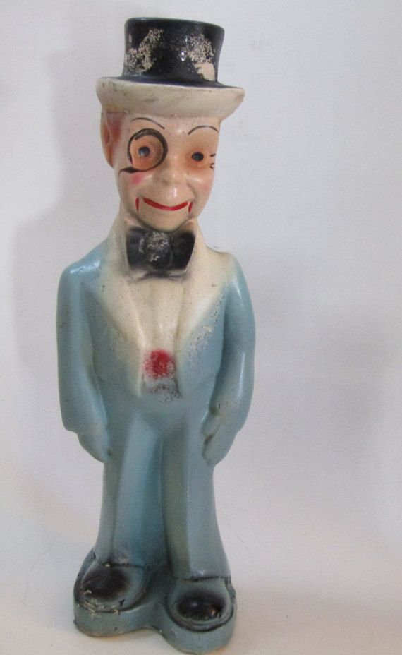 Charlie McCarthy Chalkware Carnival Doll  This beautiful chalkware figure of the ventriloquest doll, Charlie McCarthy Chalkware figures were popular carnival game prizes during the  first half of the 19th century, especially during WWII. Chalkware  was sculpted gypsum or plaster painted with watercolors. Many  of the McCarthy dolls were bright pastel colors while some had black suits. This item has a pastel light blue suit with a black hat. Besides dolls  there were many other subjects…