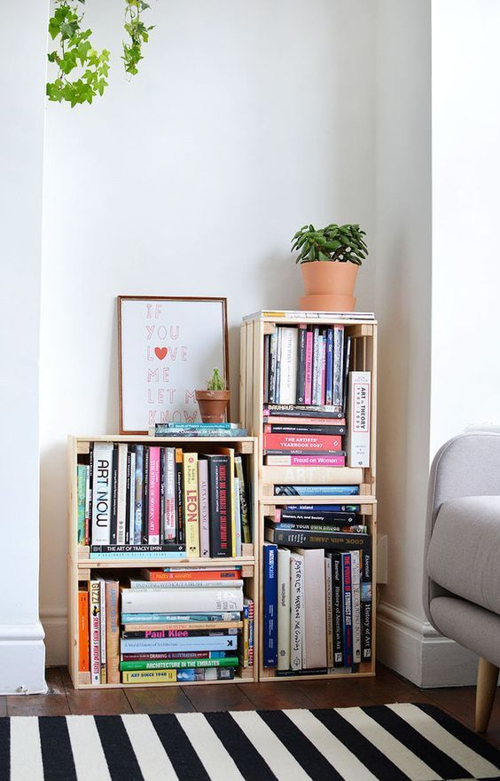Stack up some cheap crates to make a custom bookshelf: | 31 Gorgeous Furniture Upgrades For Your Grown Up Apartment