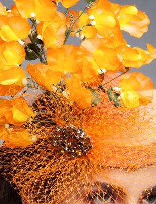Audrey, Orange Fascinator by Arturo Rios
