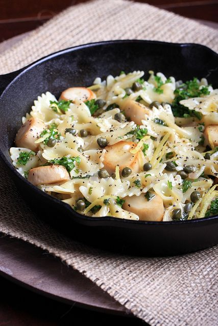 Impress even seafood snobs with this dish! Vegan Scallops in a Wine Wine Cream Sauce over Pasta.