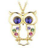 #Gioielli #9: Le Premium® - alta qualità catena lunga collana con pendente colorato ala gufo in cristallo occhio blu zaffiro, placcato oro