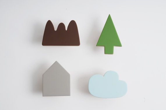 Wooden wall hooks, Mountain, Tree, House and cloud designs