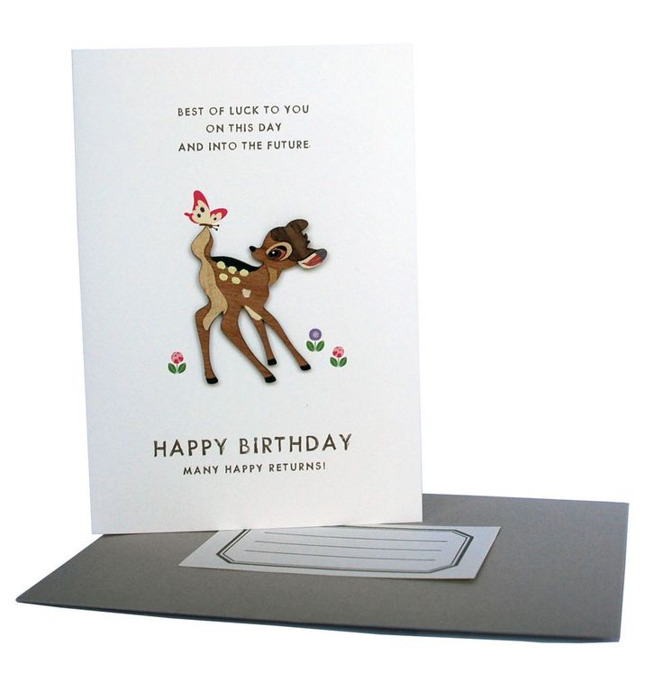 Disney wooden Bambi birthday card