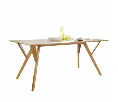 "Mesa ""Kuala"" 180x90x75 cms. de alto. Cubierta de madera aglomerada enchapada madera de fresno patas madera de caucho"