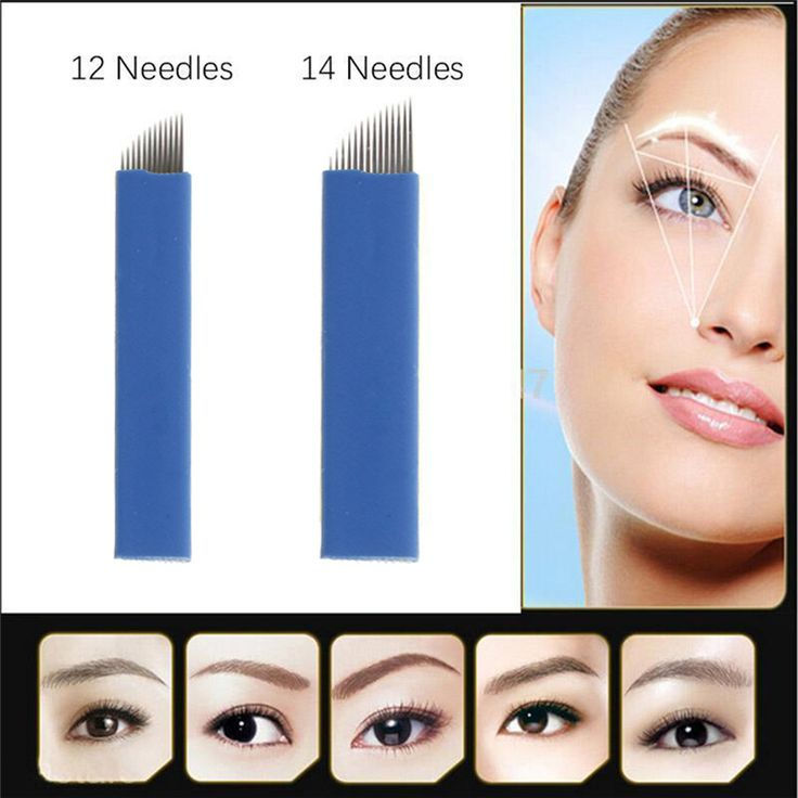50Pcs Blue 12/14 pin Needles Manual Embroidered Eyebrow Makeup Tattoo Bevel Blad...