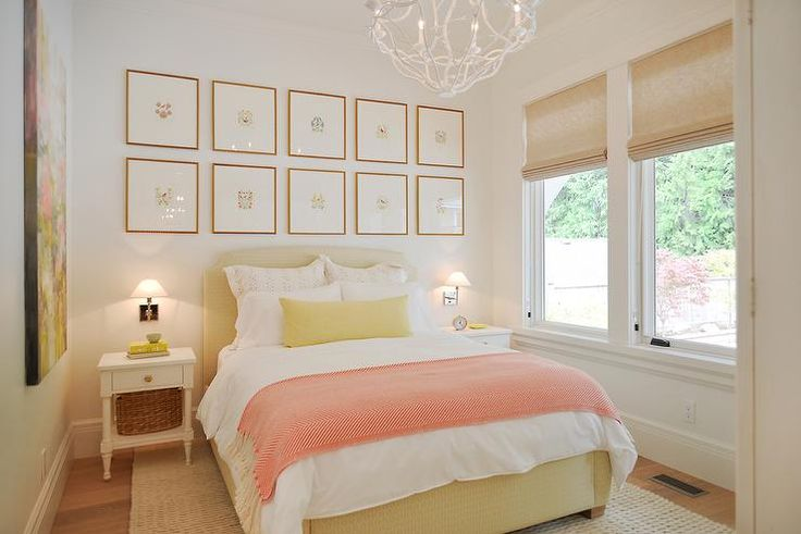Yellow And Pink Bedroom Features A Stacked Art Gallery