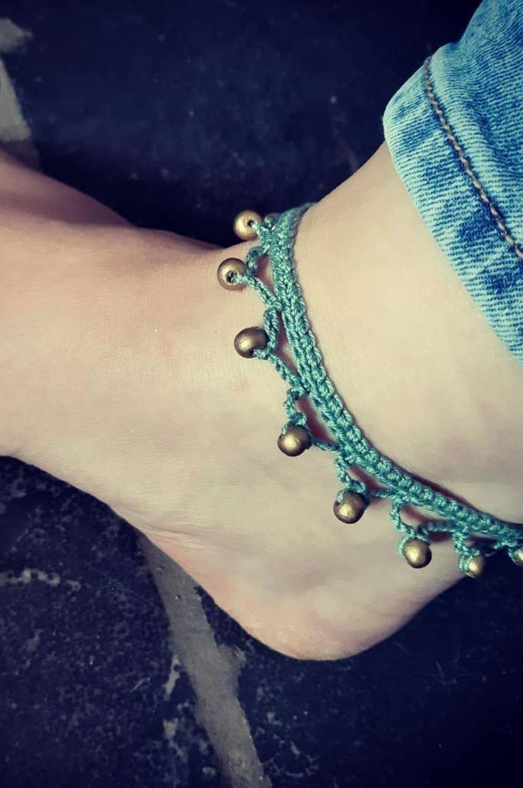 Crochet glass bead anklet handmade