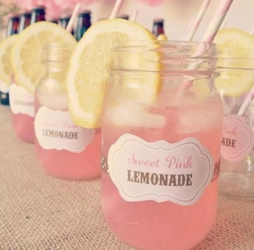 These pink lemonade jars would look amazing with a red chevron straw and a strawberry on the side, maybe frozen strawberries in ice for a Pink and Red Soiree.