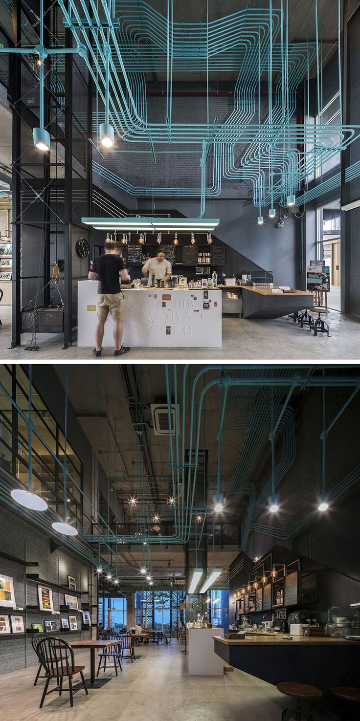 10 Unique Coffee Shops In Asia / Supermachine Studio and developer Sansiri designed this office coffee shop that highlights the electrical conduit system by painting it a bright turquoise to give it a fun, industrial look.
