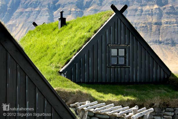 """When one creates green roofs the houses themselves become part of the landscape."" Freidensreich Hundertwasser (1928-2000). This is one of Iceland's 18th century fishing stations. It's built using thick dry stone walls with a timber roof under thick insulating layers of turf. More wonderful natural homes on the Natural Homes Timeline www.naturalhomes.org/timeline.htm"