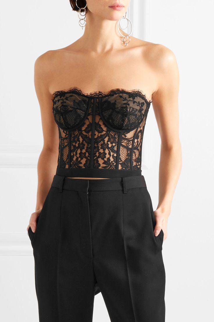 Alexander McQueen | Sarabande cotton-blend lace bustier top | NET-A-PORTER.COM